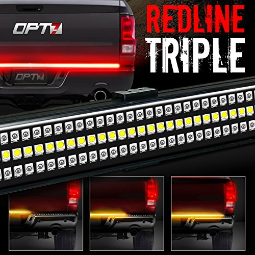"60"" Redline TRIPLE LED Tailgate Light Bar w/ Sequential Amber Turn Signal - 1,200 LED Solid Beam - Weatherproof No Drill Install - Full Function Reverse Brake Running 2yr Warranty"
