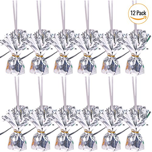 Silver Metallic Wrapped Balloon Weights With String & Silver Tie (Pack Of 12) For Party Decoration By: (Foil Weight)