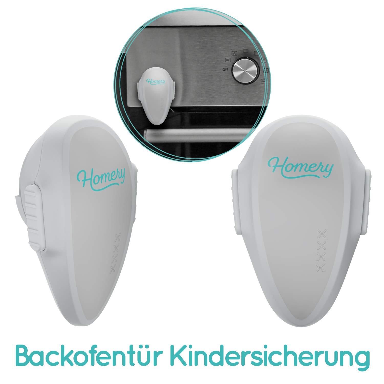 Ofensicherung zum Schutz f/ür dein Baby oder Kind im praktichen Set mit hitzebest/ändigen Klebetape Backofent/ür Kindersicherung von Homery 2 St/ück im Set Weiss