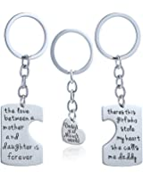 3pcs Father Mother I Love U Charm Pendant Key Chain Set for Daughter Dad Mom Family Gift