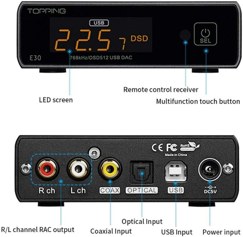 azul TOPPING E30 DSD512 USB DAC PCM32Bit//768KHz AK4493 decodificador de alta resoluci/ón OPT//COAX mando a distancia audio digital