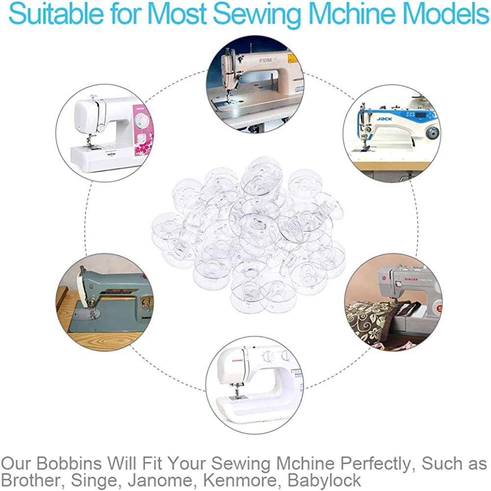 Kuichu 50 Pcs Premium Plastic Transparent Sewing Machine Bobbins with Soft Measuring Tape and Case Singer Kenmore Durable Sewing Machine Bobbin for Brother Janome Babylock.