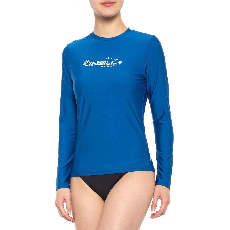 O'Neill UV 50+ Sun Protection Womens Basic Skins Long Sleeve Crew Sun Shirt Rash Guard, Hawaii Deep Sea, Large by O'Neill Wetsuits