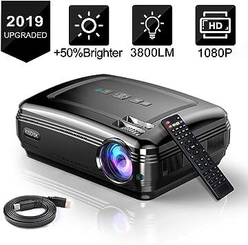 KISDISK Proyector de Video de Cine en casa 1080P HD proyector de ...
