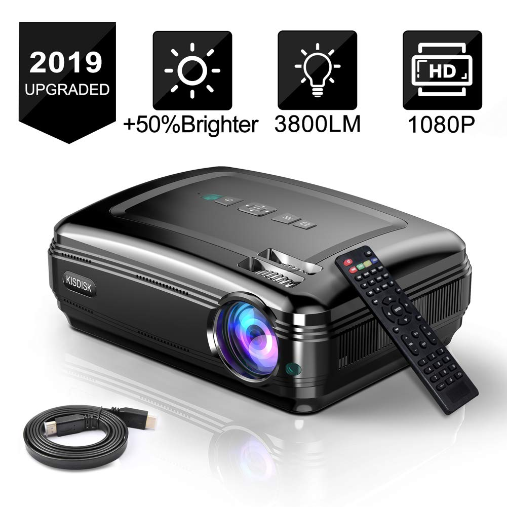 Overhead Projector, KISDISK Home Theater Video Projector 1080P HD Movie Projector, Office Business Projector, Compatible with TV Stick, HDMI, VGA, USB, Xbox, Laptop, Smartphone by KISDISK