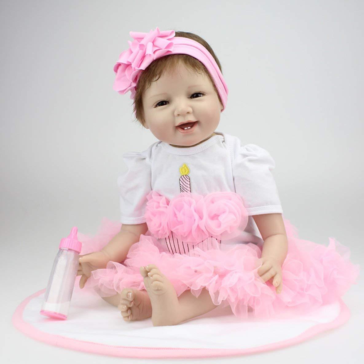 22 Pulgadas Sonrisa Cara renacer muñecas del bebé muñecas realistas realistas Bebe Reborn bebés bebés niñas Juguetes con un Hermoso Vestido