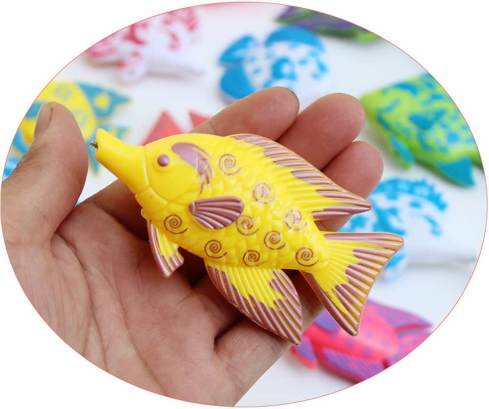 HUIFEIDEYU Magnetic Fishing Toys Game Set for Kids Water Table Bathtub Kiddie Pool Party with 1 Fishing Rod and 6 Cute Fishes Toddler Learning Random Color Ocean Sea Animals Plastic Floating Fish