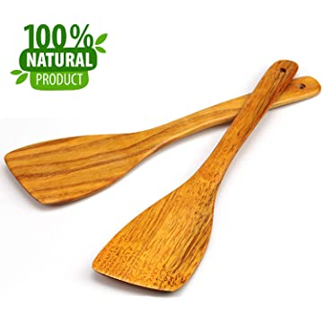 African Olive Wood Batik Bone Handle Salad Servers x 1 Pair Fairtrade Craft