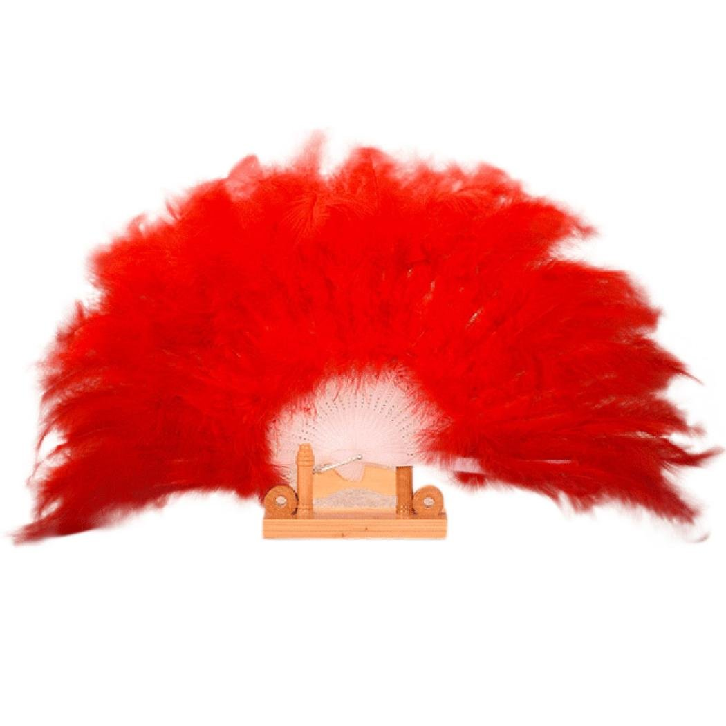 HUHU833 Wedding Showgirl Dance Elegant Large Feather Folding Hand Fan Decor Decal (Black)
