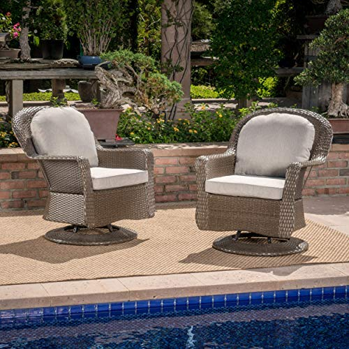 Linsten Outdoor Brown Wicker Swivel Club Chairs with Ceramic Grey Water Resistant Cushions (Set of 2) (Set Club Patio Wicker Chair)