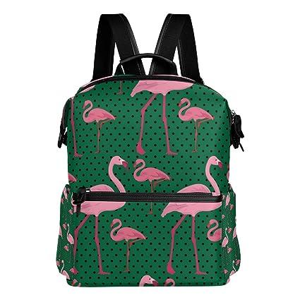 TIZORAX - Mochila Escolar con diseño de Flamenco Rosa, Color Verde