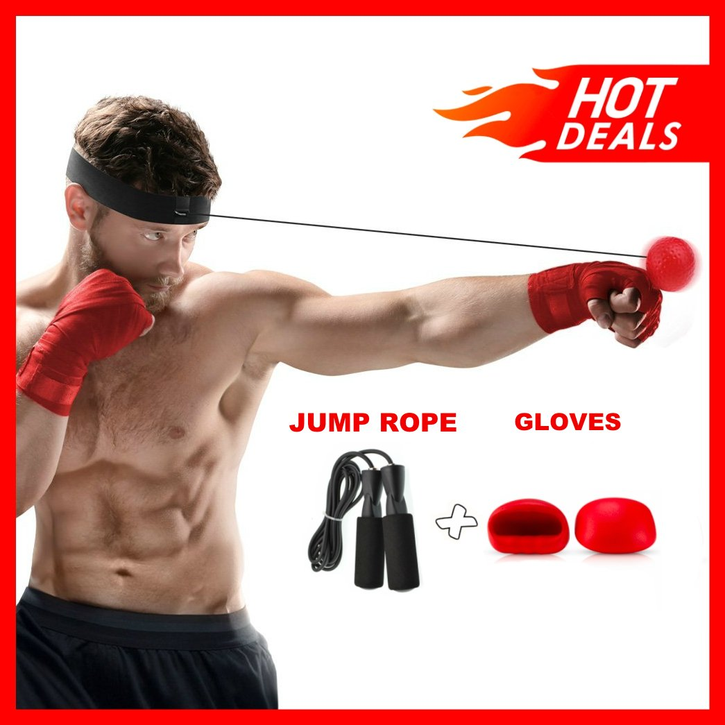 Boxing Reflex Ball Bundle With Headband, Gloves & Jump Rope, Gym Equipment to Improve Speed, Agility and Conditioning, Adult/Kids Gift MMA Sports Fight Workout Exercise Practice Training and Fitness