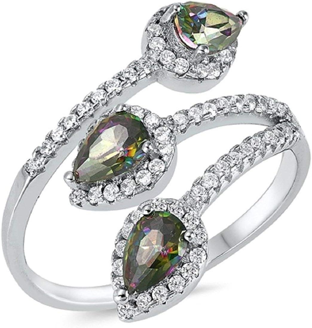 Teardrop Pear Rainbow Cubic Zirconia 925 Sterling Silver Fashion Ring Blue Apple Co
