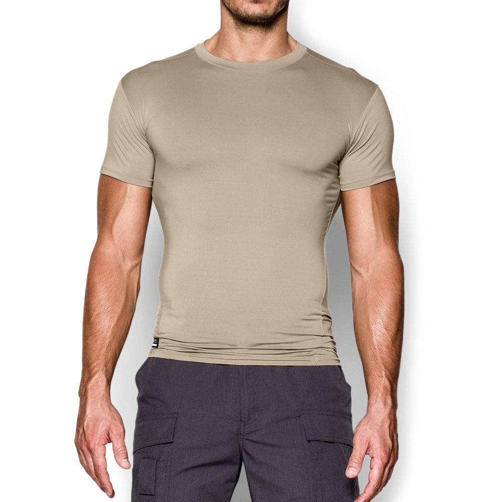 Under Armour Men's UA Tac Heat Gear Compression Tee, Desert Sand (290)/Clear, Small
