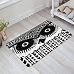LOVE HOME DAY Black and White Geometric Owl Door Mats Kitchen Floor Bath Entrance Rug Absorbent Indoor Bathroom Decor Low Profile Thin Doormats Rubber Non Slip