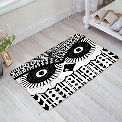 (LOVE HOME DAY Black and White Geometric Owl Door Mats Kitchen Floor Bath Entrance Rug Absorbent Indoor Bathroom Decor Low Profile Thin Doormats Rubber Non Slip 18