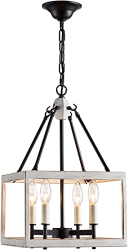 ANJIADENGSHI Lantern Pendant Light Lantern Iron Cage 4 E12 Bulbs Lantern Chandelier