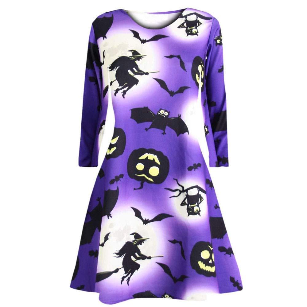 Clearance Deals! NRUTUP Women's Pumpkins Halloween Evening Prom Costume Swing Dress Vacation Party HOT!(PurpleM)