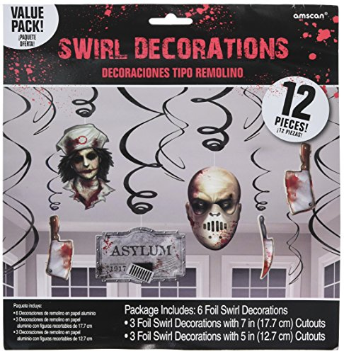 amscan Haunted Asylum Halloween Foil Swirl Hanging Decorations Decoration, Plastic, Pack of 12 ()