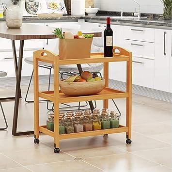 Serving Wine Cart Ruedas giratorias, Carro de almacenaje rodante de Madera Maciza de 3 Niveles, para Tea Bar Oficina Cocina Comedor Baño, ...