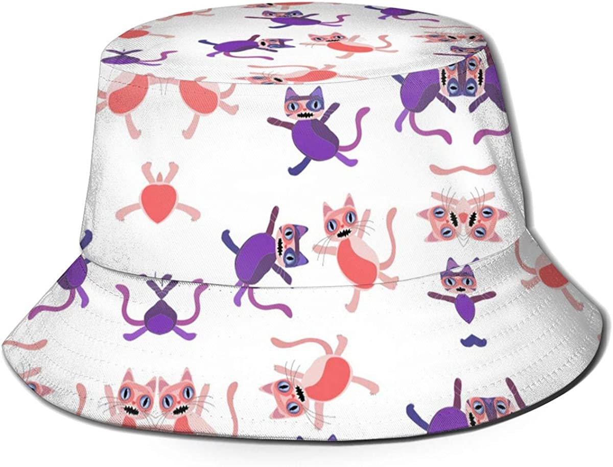 B084JQ6BY4 ABBY FLOWER Cute Cat Lover Kittens Dance Bucket Beach Sun Hat Foldable for Outdoor All Seasons Black 61NsmkZooRL