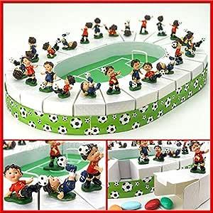 Ingrosso e Risparmio - Tarta portaconfites en Forma de Estadio de cartón con Figura de niño futbolín, bombonera con temática de fútbol para comunión, Bautizo Masculino: Amazon.es: Hogar