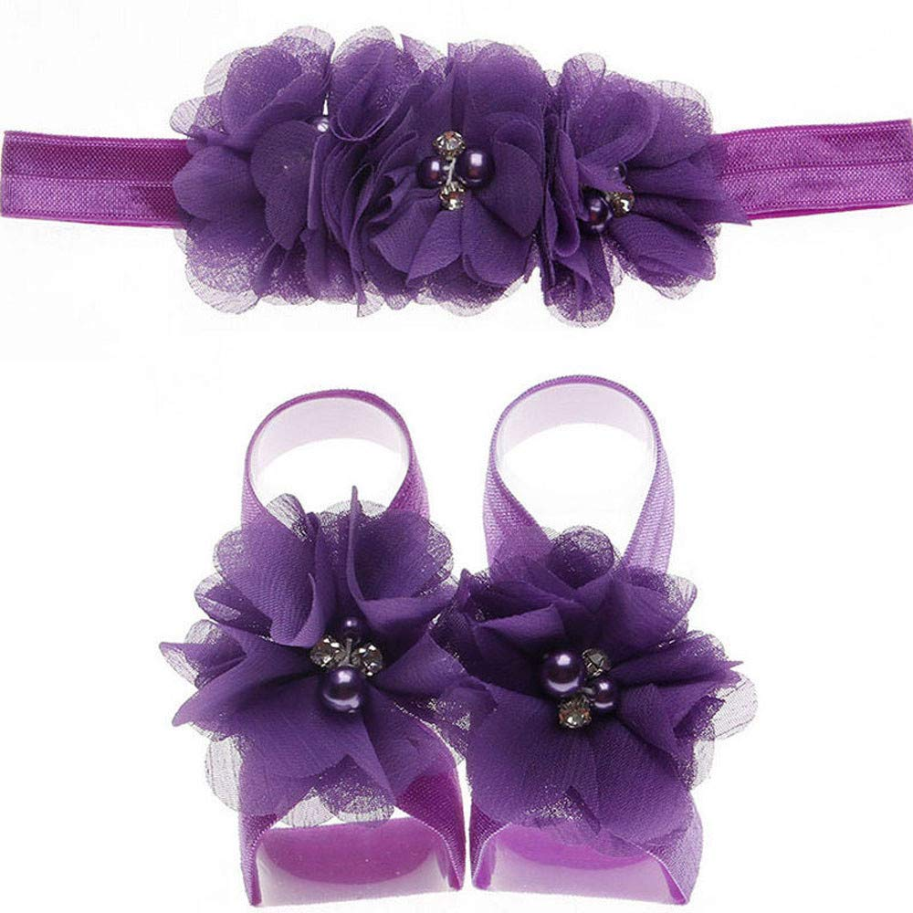 Amazon.com: Baby Foot Flower Barefoot Sandals and Headband Set Hair ...