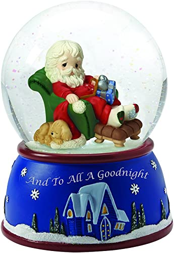 Precious Moments, Santa Sleeping in Recliner , Plays We Wish You A Merry Christmas, Musical Snow Globe, 161103