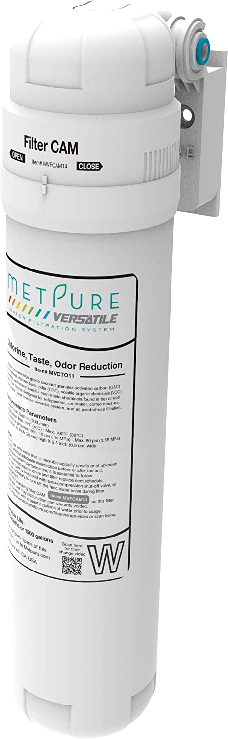 "Metpure Versatile Inline MVCTO11-KIT Quick Twist Water Filter 1/4"" for Refrigerator, Ice Maker, Coffee Maker, Reduces Bad Taste, Odor, Chlorine in Drinking Water. Complete Kit."