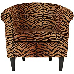 Parker Lane Uch-Nik-pon1 Safari Club Chair, Tiger Print