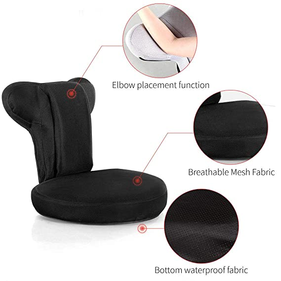 NOVI Folding Floor Chair Floor Sofa Chair Breathable Back Recliner and Adjustable Recliner for PS4 Game and Playing Gamepad Home Lazy Chair(Black)