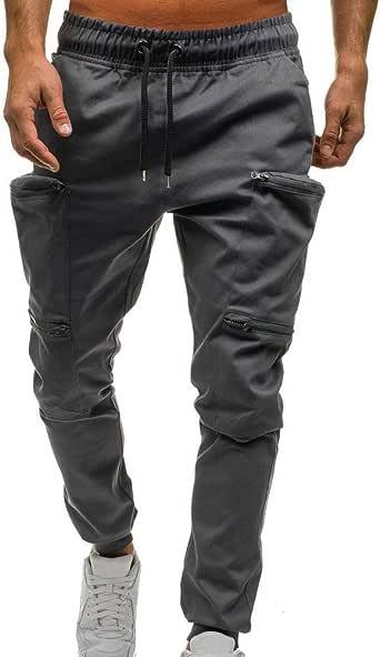 YiYLunneo Pantalones Casuales Hombre Bolsillo Grande Moda ...