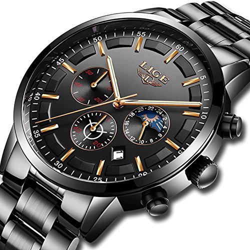 Watches for Men,Mens Stainless Steel Watches Men Chronograph Waterproof Sport Date Quartz Wristwatch Classic Watch with Black Dial