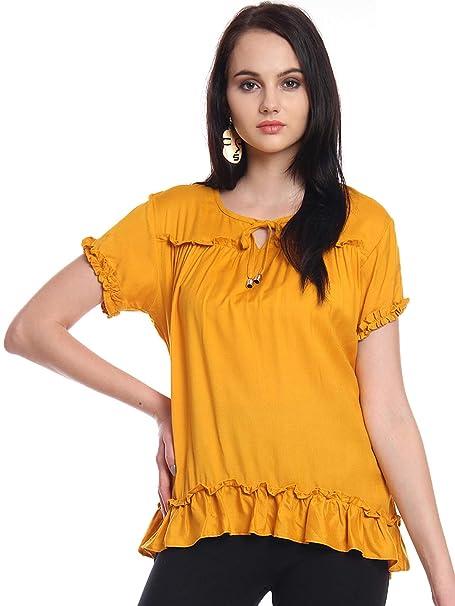 06c3cf37e865d Itsyor Mustard Color Designer Casual Women s top  Amazon.in ...