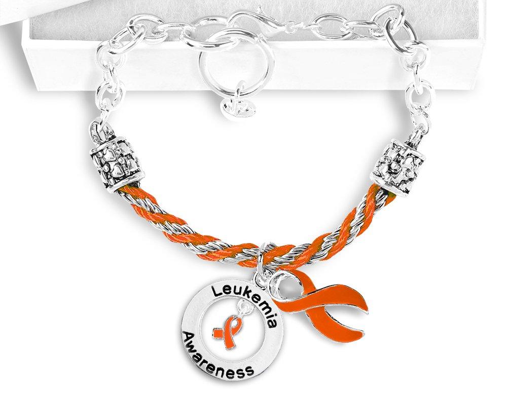 Leukemia Hanging Ribbon Partial Rope Bracelet in a Gift Box (1 Bracelet - Retail)