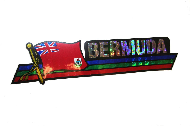 30 x 7.5 Cm . Bermuda LONG Country Flag Metallic Bumper Sticker Decal . New Size