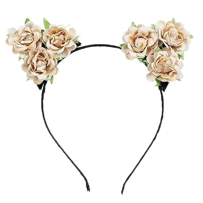 Amazon.com: actlati Mujer Disfraz De Rose Flor Diadema con ...