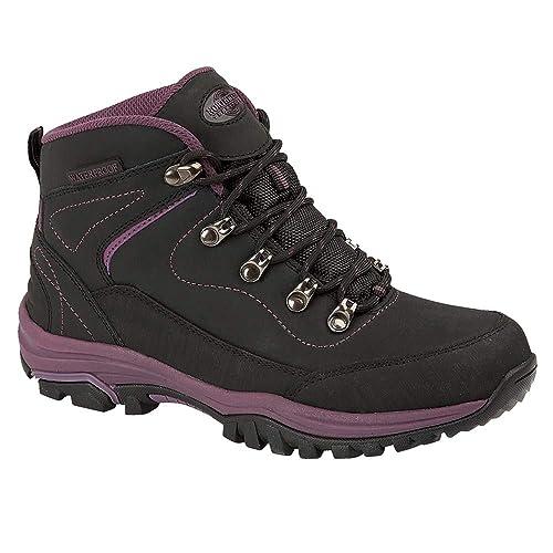 7121610fed0 Northwest Territory Ladies Leather Lightweight Waterproof Walking Hiking  Trekking Comfort Memory Foam Shoes Size 3 4 5 6 7 8