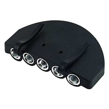 Head Cap 2x Clip On 5 LED Hat Light Lamp Torch Fishing Camping Hunting Outdoor