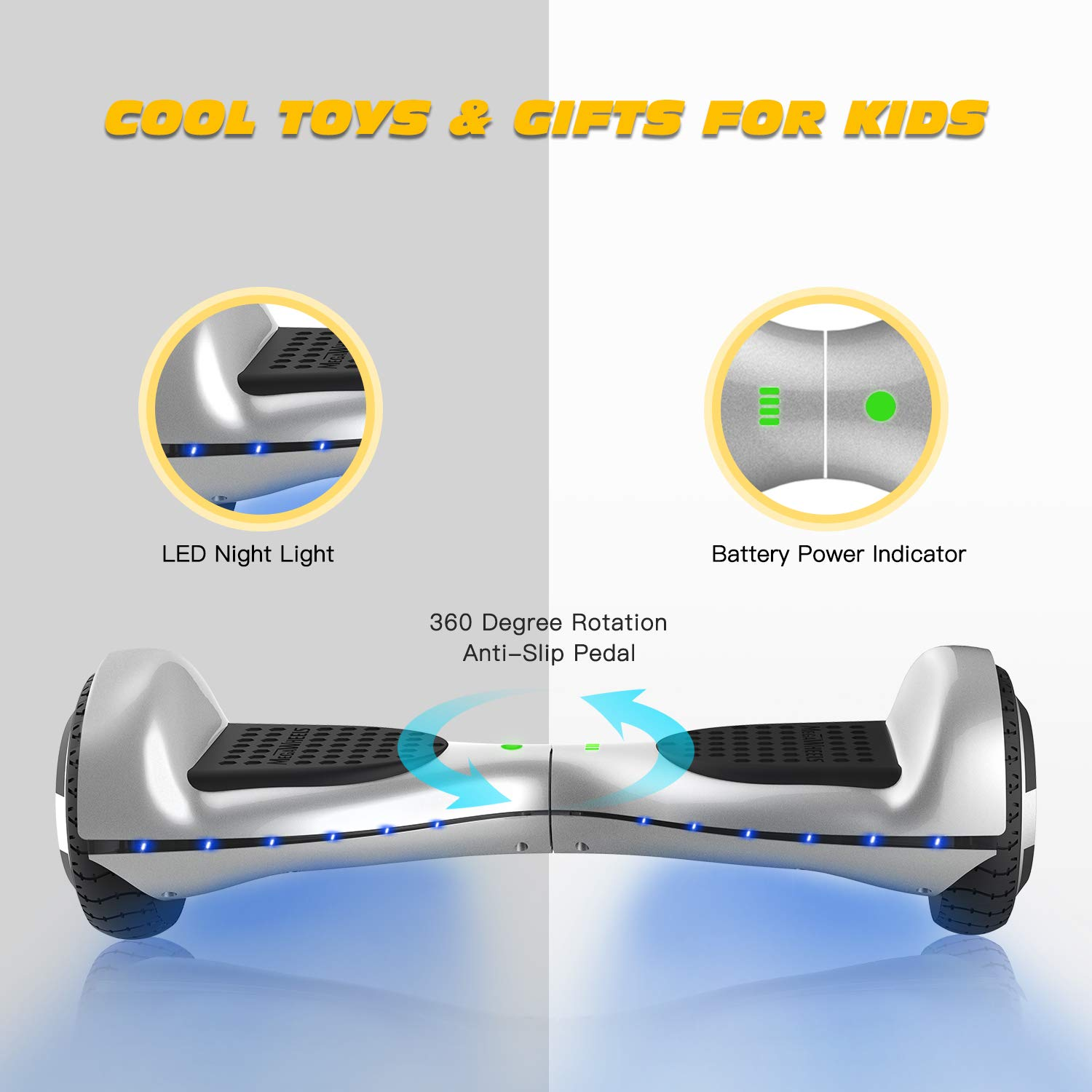 Hoverboard Self Balancing Scooter Hover Board for Kids Adults with UL Safety Certified LED Light & Speaker MEGAWHEELS