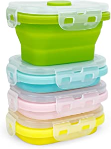 CCyanzi Small Silicone Food Containers with Lids, Collapsible Food Storage Containers Set | Leakproof | Microwaveable | Store Food in Freezer | 150ml, Set of 4