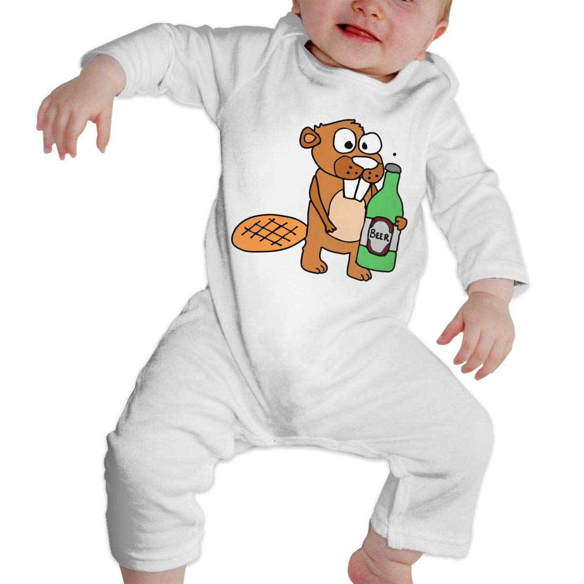 A1BY-5US Infant Baby Boys Girls Cotton Long Sleeve Funny Beaver Drinking Beer Cartoon Romper Bodysuit Romper Clothes
