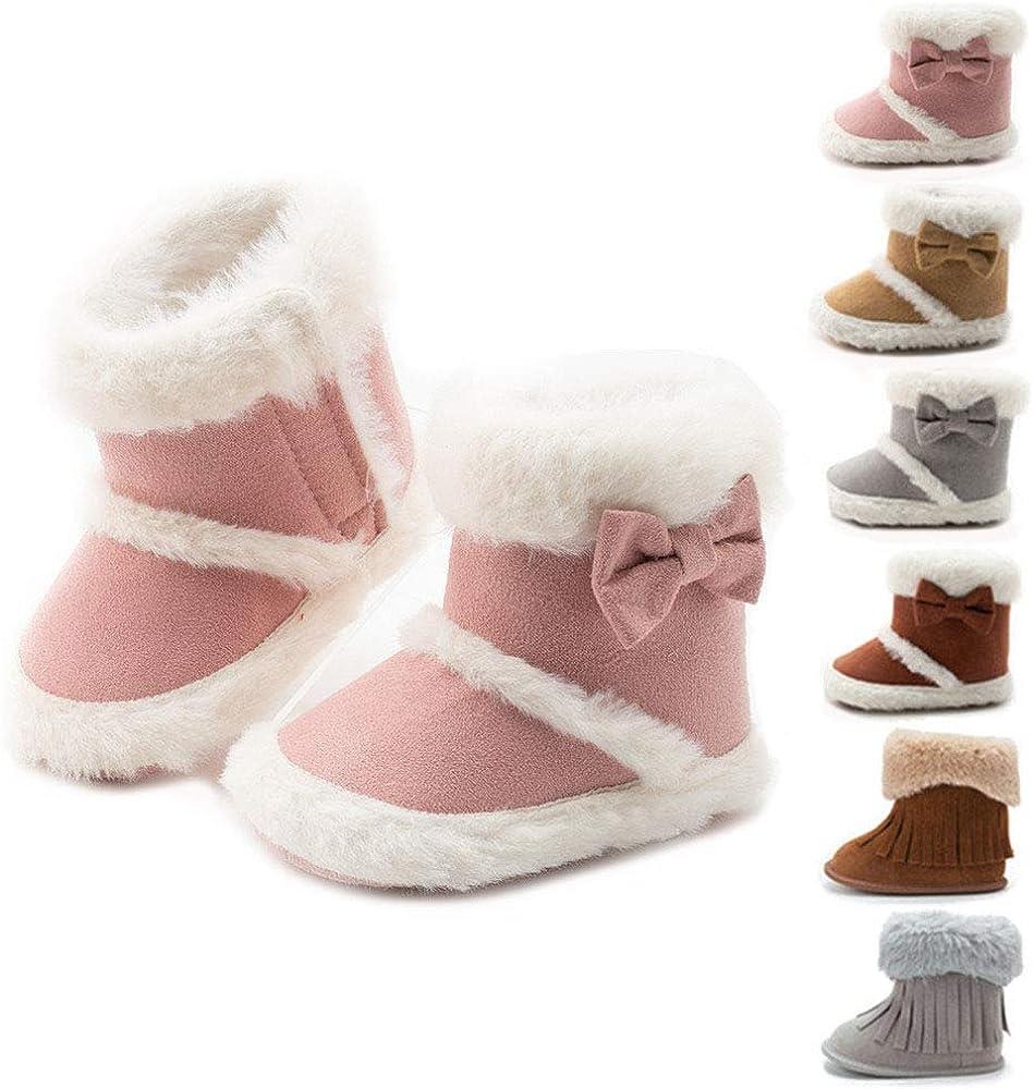 Baby Newborn Kids Girls Snow Shoes Winter Soft Sole Prewalker Crib Plush Boots