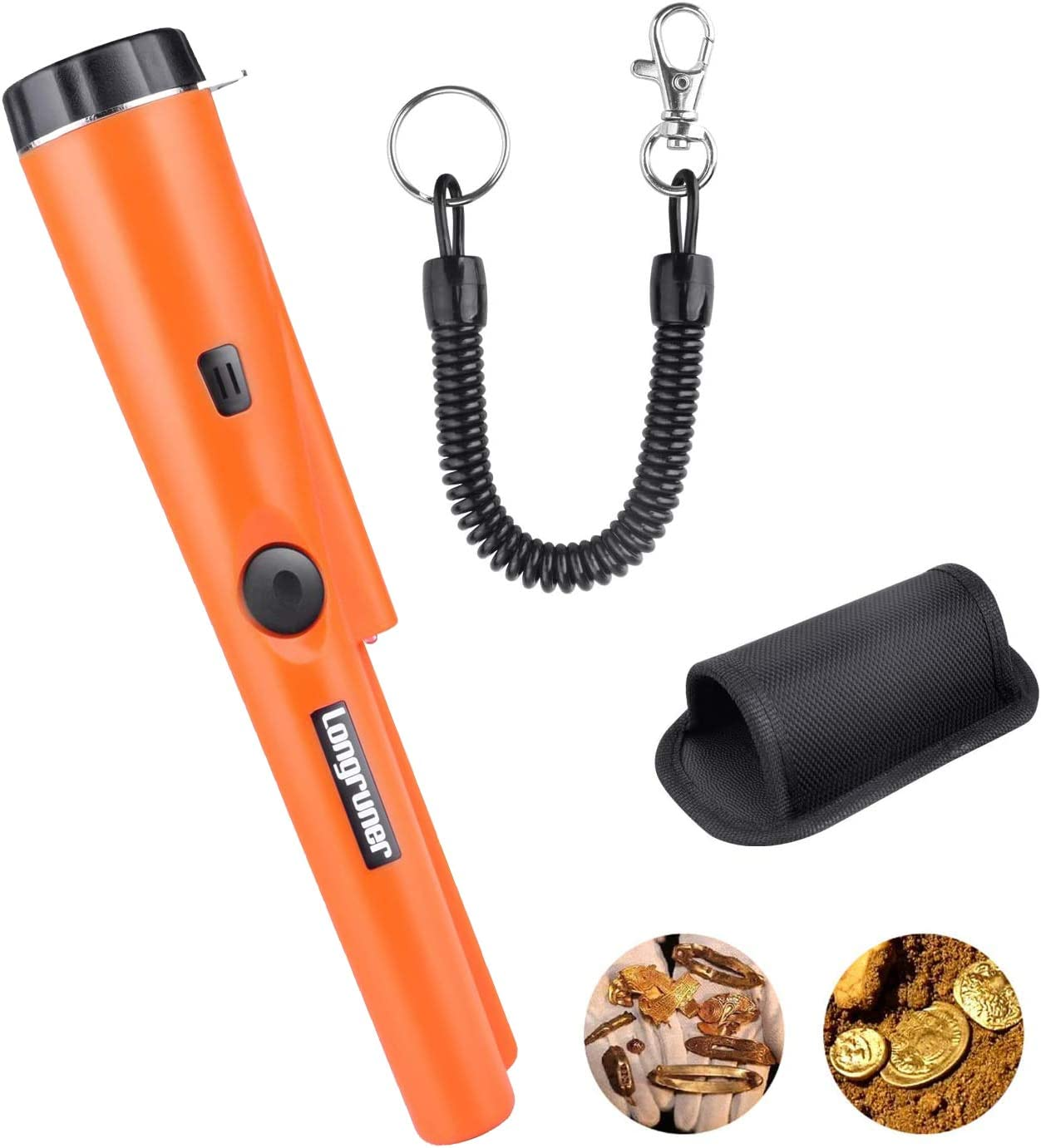 Longruner Metal Detector Pin Pointer Probe Waterproof Handheld Pinpointer with Holster Treasure Hunting Unearthing Tool Accessories