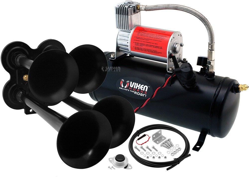Vixen Horns Loud 149dB 4/Quad Black Trumpet Train Air Horn with 1.5 Gallon Tank and 150 PSI Compressor Full/Complete Onboard System/Kit VXO8530/4114B by Vixen Horns (Image #1)