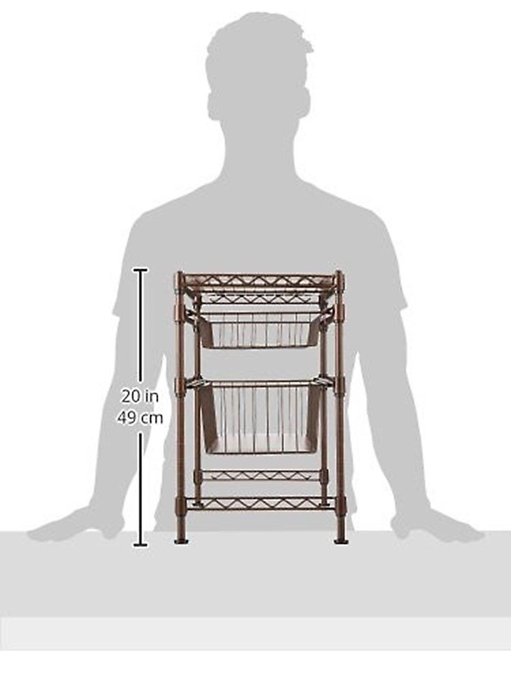 Seville Classics Stackable 3-Tier Sliding Double Basket Cabinet Organizer with Bonus Liners, 11.5'' W x 17.5'' D x 18.5'' H,  Satin Bronze