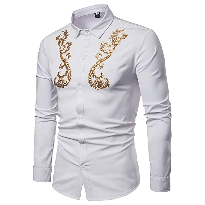 d7a65d4a80a3 Shirts for Men Men's Spring Casual Slim Fit Shirts Printed Long Sleeve Button  Shirt Top Blouse