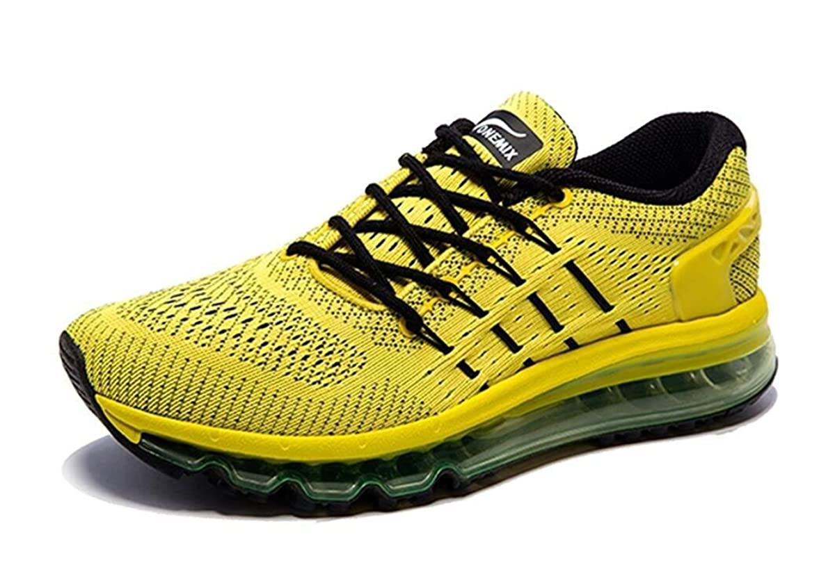 ONEMIX Mens Mesh Air Sport Running Shoes Tennis Shoes Lightweight Outdoor Walking Casual Sneakers 10 Yellow Black
