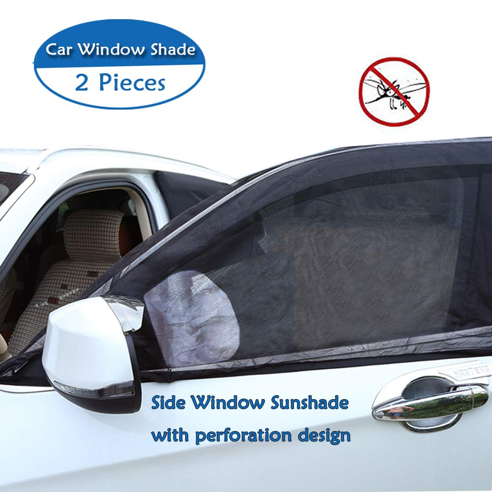 Big Ant Car Window Sun Shade Windshield Shade Side Window Baby Sunshade-Adjustable Universal Fit Mesh Side Window Sunshade-Sun Glare and UV Rays Protector for Baby Child and Pet 2PCS L 46.08x 23.6