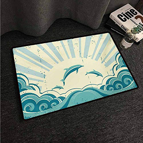 HCCJLCKS Waterproof Door mat Dolphin Nautical Inspirations in Dolphins with Rising Sun and Swirled Ocean Waves Machine wash/Non-Slip W31 xL47 Teal Pale Yellow